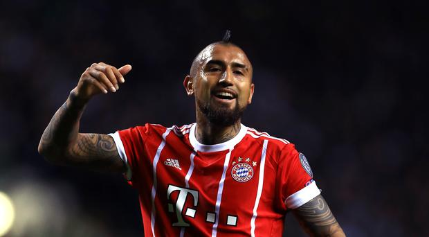Arturo Vidal playing for Bayern Munich in the Champions League.
