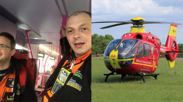 Air ambulance crew taking public transport