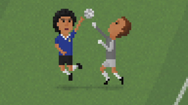 Maradona's Hand of God in 8-bit form (8bit-Football.com/PA)