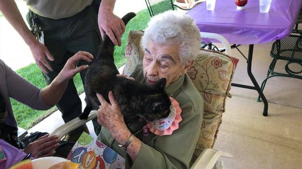 Lillian with her new cat