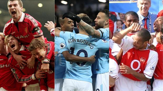 Manchester United's team of the 1998/99 season, Manchester City's 2017/18 team, and Arsenal's 2003/04 team