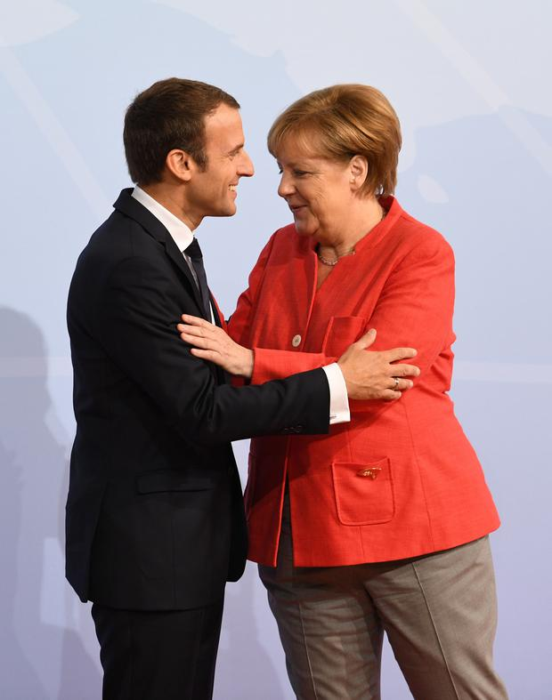 French President Emmanuel Macron and German Chancellor Angela Merkel. Photo: PA