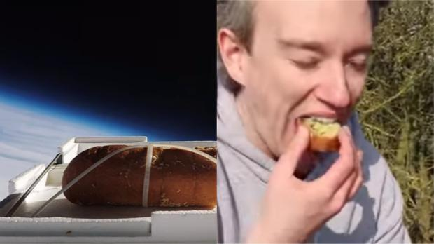 Garlic bread sent to the edge of space (Tom Scott/PA)