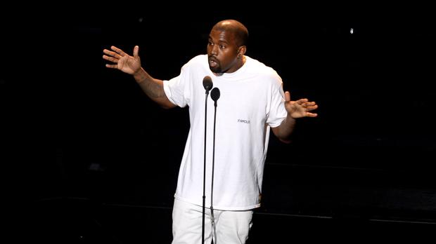 Kanye West on stage during the show at the MTV Video Music Awards
