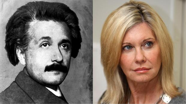 Albert Einstein and Olivia Newton-John