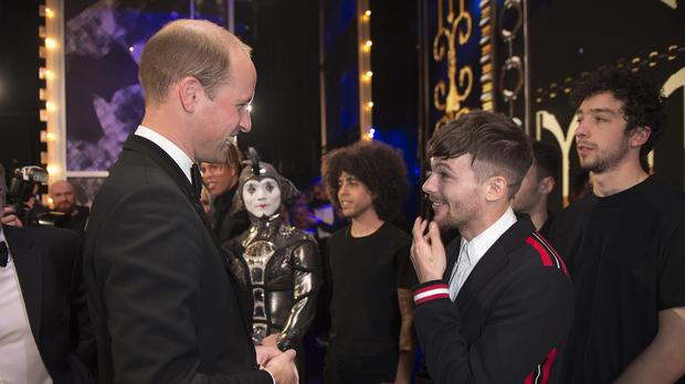 Prince William and Louis Tomlinson at the Royal Variety Performance (Eddie Mulholland/Daily Telegraph/PA)