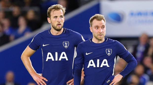 Harry Kane and Christian Eriksen feature in a clip for a film shoot with Soccer AM (Gareth Fuller/PA)