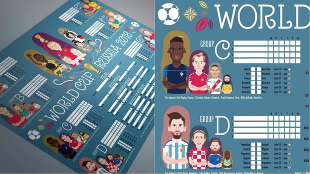 Elliott Quince's charity World Cup wall chart