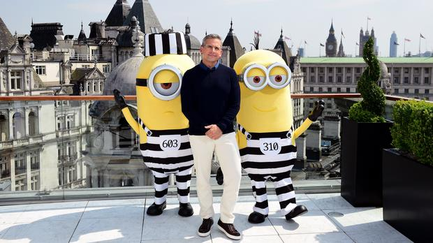 Gru actor Steve Carell with a bunch of Minions