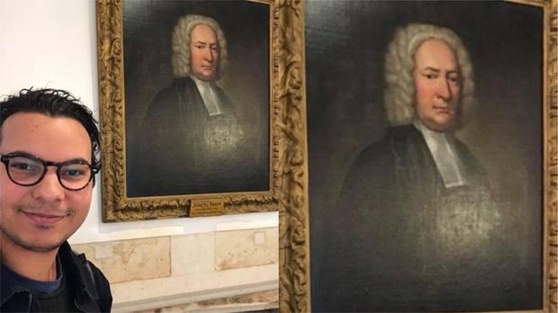 Man finds portrait of distant relative in library