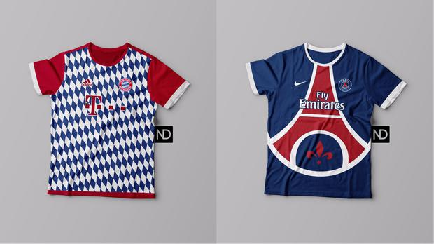 Two concept kits for Bayern Munich and Paris St-Germain (Natanael Doldan)