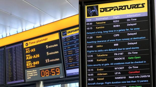 Heathrow has been creatively scheduling flights to other galaxies (Heathrow Airport/Twitter)