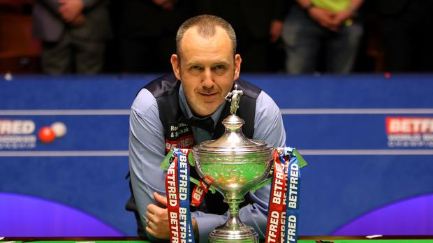 Mark Williams with the trophy after winning the 2018 snooker World Championship