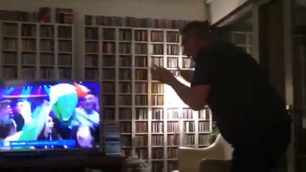 Martin reacts as Ireland takes the final spot in the Eurovision final (Derek Mooney)