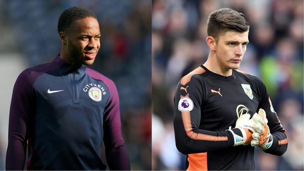 Manchester City footballer Raheem Sterling and Burnley goalkeeper Nick Pope (Barrington Coombs/EMPICS Sport, Anthony Devlin/PA)