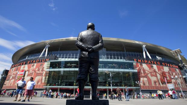 A general view of the Herbert Chapman statue outside the Emirates Stadium
