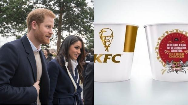 Prince Harry and Meghan Markle, and a commemorative KFC bucket