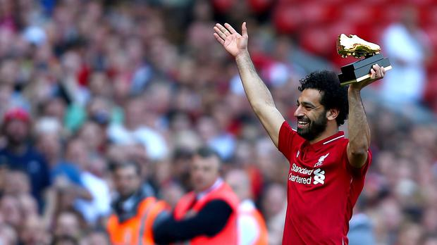 Liverpool's Mohamed Salah with his Golden Boot award (Dave Thompson/PA)