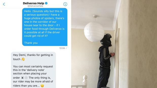 A student who was scared of spiders got her Deliveroo delivery driver to help out (Demi Sweeney/PA)