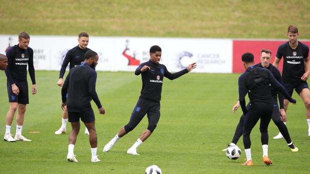 England's Marcus Rashford takes part in training – (Nick Potts/PA)