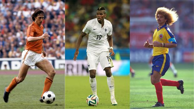Johan Cruyff, Paul Pogba and Carlos Valderrama – (Matthew Ashton/EMPICS Sport, Peter Robinson/EMPICS Sport, Nick Potts/EMPICS Sport)