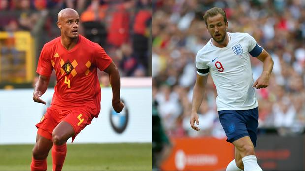 Vincent Kompany and Harry Kane, playing for Belgium and England respectively (Geert Vanden Wijngaert/AP, Steven Paston/PA)