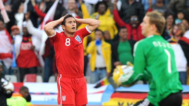 Frank Lampard reacts to his disallowed goal at the 2010 World Cup – (Tony Marshall/EMPICS Sport)