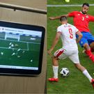 A World Cup game shown on the Moscow Metro, and Costa Rica v Serbia – (@Alexis_Eks/Twitter, Vadim Ghirda/AP)