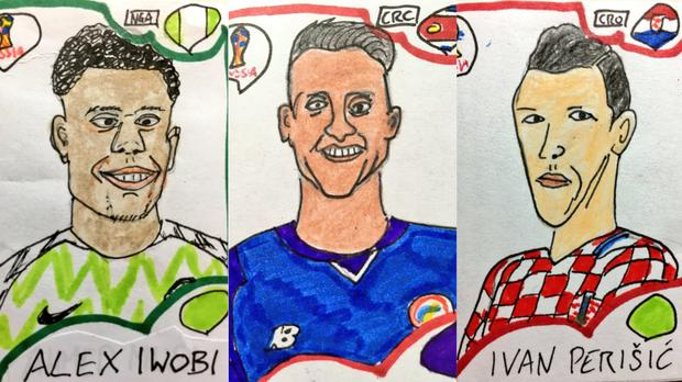 Three home made World Cup football stickers from Panini Cheapskates – (@CheapPanini/Twitter)