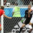 England's Harry Kane scores his side's second goal of the game against Tunisia at the 2018 World Cup – (Owen Humphreys/PA)