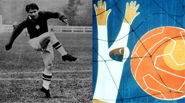 Ferenc Puskas, who played for Hungary at the 1954 World Cup, and the 1954 World Cup poster – (PA, Peter Robinson/EMPICS Sport)