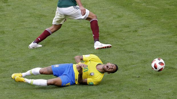 Brazil's Neymar during a last-16 World Cup game against Mexico (Sergei Grits/AP)