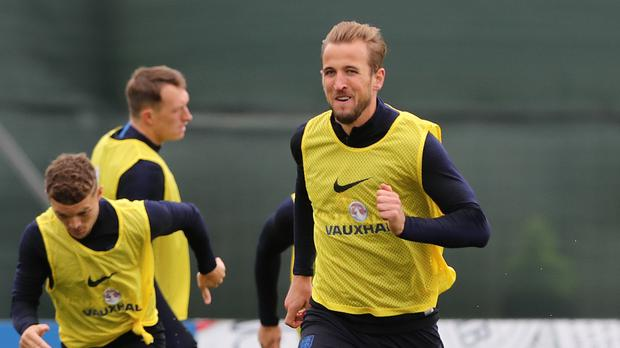 England's Harry Kane during England's training session at Spartak Zelenogorsk Stadium (Owen Humphreys/PA)