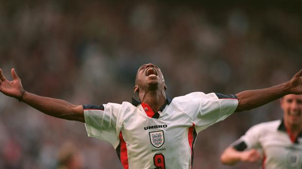 Ian Wright celebrates scoring a goal for England (Michael Steele/EMPICS Sport)