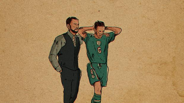 An illustration showing England manager Gareth Southgate consoling his younger self – (Reuben Dangoor)