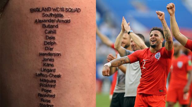 A tattoo of the England squad at the 2018 World Cup and England defender Kyle Walker – (@welchyyyy/Twitter and Owen Humphreys/PA)