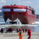 The RRS Sir David Attenborough polar research ship's hull is launched in the River Mersey, Liverpool – (Peter Byrne/PA)