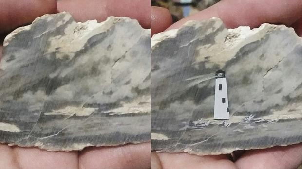 Sheri Butler's painting of a lighthouse on a rock (Sheri Butler)