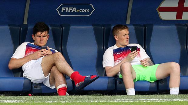 Harry Maguire was showing off Leicester City's new away kit (Aaron Chown/PA)