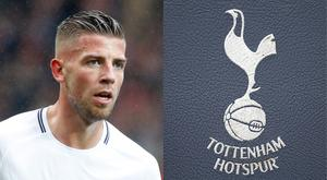 The Spurs badge was missing from Toby Alderweireld's shirt (Martin Rickett/PA and David Davis/PA)