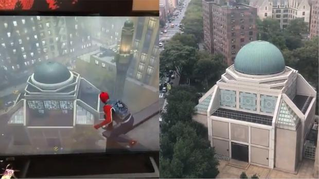 The Islamic Cultural Center of New York in the video game Marvel's Spider-Man and in real life (@theRobertPagan/Twitter)