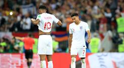 England's Jesse Lingard (right) and Marcus Rashford look dejected during the 2018 World Cup semi-final (Adam Davy/PA)