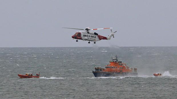 A lifeboat training exercise (Owen Humphreys/PA)