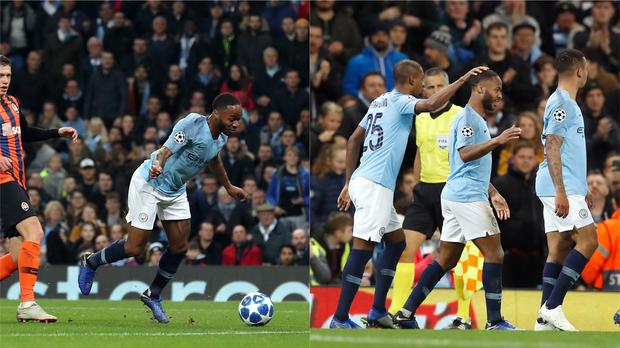 Manchester City's Raheem Sterling was awarded a penalty for a comical trip, before scoring a sensational goal later in the game (Martin Rickett/PA)