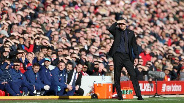 Fulham manager Slavisa Jokanovic gestures on the touchline during the Premier League match at Anfield (Barrington Coombs/PA)