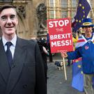 The protester would not let Jacob Rees-Mogg have his moment (Rick Goodman and Stefan Rousseau/PA)