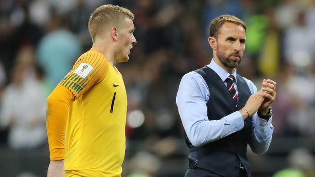 England goalkeeper Jordan Pickford and manager Gareth Southgate (Owen Humphreys/PA)