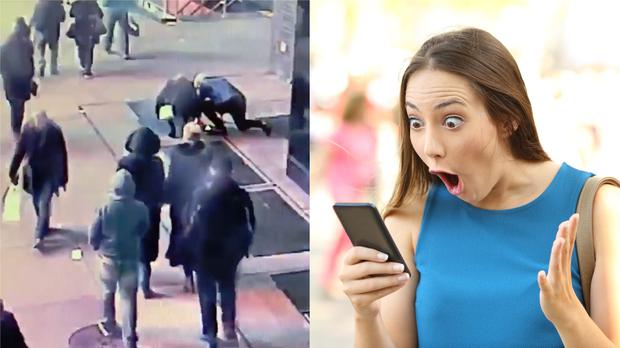 A couple look for a dropped engagement ring, and a stock image of a woman looking shocked at her phone (NYPD and AntonioGuillem/Getty Images)