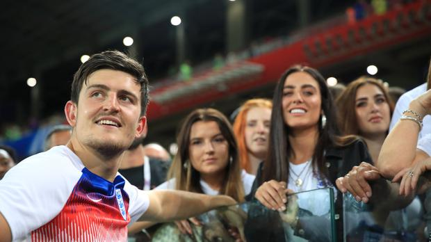 England's Harry Maguire celebrates after his side win the penalty shoot-out against Colombia at the World Cup (Adam Davy/PA)