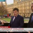 Andrew Bridgen, left, and James Cleverly, right, clash while speaking to Victoria Derbyshire (BBC News)